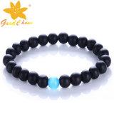 Agb-16112807 Classical Black Color Agate Jewellery Austrália com Blue Cat's Eyestone