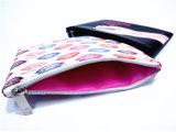 Digital Continuos Prited PU avec 210t Rectange Sac cosmétique de plumes