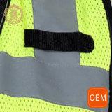 Gilet de travail de réflexion de protection d'OEM, gilet de force d'hommes salut avec des poches