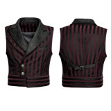 Western Styles Velvet Collar Minisuits curtos Men's Stried Waistcoats (Y-743)