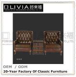 Mobilia domestica stabilita di stile di Chesterfiel del sofà di cuoio di lusso classico americano del salone