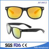 Óculos de sol lisos do frame do preto da lente do espelho elegante para unisex