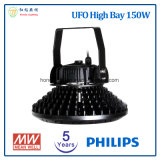 5 años de la garantía 150W de iluminación industrial del UFO LED con las virutas de Philips LED y el programa piloto de Meanwell LED