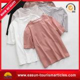 T-shirt 100%, T-shirt blanc blanc ordinaire de coton en gros d'hommes lavable