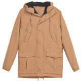 Hommes Enzyme Washed Cotton Parka Jacket avec doublure en molleton