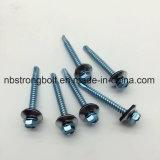 """Hexa. Vis Drilling d'individu principal de rondelle avec le schéma métallisé #3 de la rondelle (METAL/EPDM OD 16 millimètres) 12 - 14 pintes #12-14X3 galvanisé """" type foret ab"""