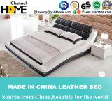 Bâti moderne classique de cuir blanc de meubles de chambre à coucher double (HC579)