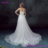 Vestido de casamento de Tulle do Curto-Comprimento do Applique do laço do vintage