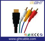 男性AVケーブルへのHDMIの男性への1.5m/1.8mの高品質3RCA