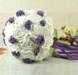 2016熱い販売のラベンダーのクリームカラーリボンが付いている絹のローズの花嫁の花束