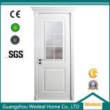 Porte en verre de peinture blanche classique intérieure en bois solide pour des projets