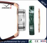 Klassische Marmorfall-und Vorwahlknopf Stainles Stahlfall-Quarz-Mann-Uhr