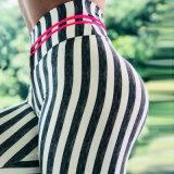 Barra vertical impressa Fitness Yoga Pants elástica e apertadas Running Perneiras