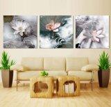 Die 3 Panel-Wand-Kunst-Ölgemälde-Lotos-Farbanstrich-Ausgangsdekoration-Segeltuch druckt Abbildungen für Wohnzimmer gestaltete Kunst Mc-258