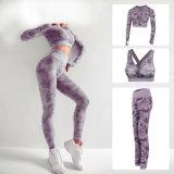 Camuflagem perfeita Alta Esticar Body-Building Feminino Movimento de ioga Fitness três peças de venda directa a ioga Jumpsuit de fábrica