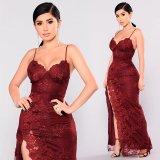 Кружевной Макси платье с небольшими передней панели