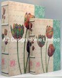 S/2 joli imprimé floral cuir synthétique/MDF Livre de stockage d'impression Boîte en bois