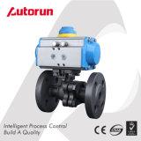 Шариковый клапан фланца нержавеющей стали с пневматическим приводом и вспомогательным оборудованием