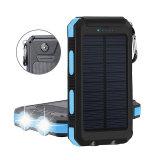 Bewegliche wasserdichte Sonnenenergie-Bank 10000mAh der Qualitäts-2017 für iPhone Handy mit LED-Licht
