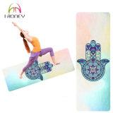 Couvre-tapis en caoutchouc de yoga de Microfiber de marque de distributeur faite sur commande de Bodhi de paume de Bouddha