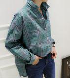 Camicia all'ingrosso del tasto di collare di polo della grata di modo di autunno