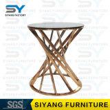 أثاث لازم بينيّة زجاجيّة طاولة نوع ذهب جانب طاولة مرآة جانب طاولة
