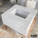 Vanité extérieure solide blanche en pierre artificielle pour la salle de bains