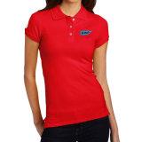 Camisas de polo impressas costume do algodão da alta qualidade para as mulheres (ELTWPJ-549)