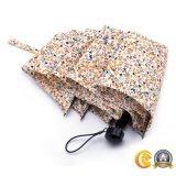 プラスチックハンドル、日曜日または雨傘が付いている繭紬ファブリック3フォールドの傘