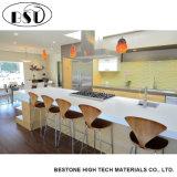 Parte superior de tabela branca icónica personalizada da cozinha de quartzo