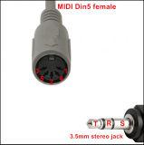 Адаптер MIDI - разъем 3,5 мм для женщин Trs 5-контактный кабель DIN