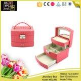 Caja de joyas de lujo de cuatro colores de doble capa de cuero caja de juegos de joyería
