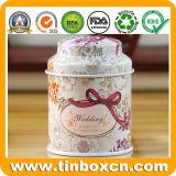 Poder de estaño redonda de encargo del té del metal para los regalos del carrito de té