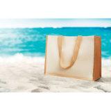 Jutefaser-Einkaufstasche lamelliert mit Vorderseite im Segeltuch-und Baumwollgewebten material