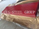 0,15*665mm telha de metal com revestimento de cor/Folha de Telhado de aço corrugado
