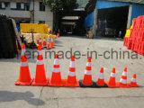 Cône en plastique de base circulant orange en gros de circulation de PVC pour la sûreté
