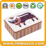 Rechteckige Blechdose für Plätzchen-Biskuit, Metallnahrungsmittelkasten