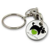 Trólei amovível Token de moeda metálica com porta-chaves (XD-031736)