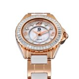 Cristal de zafiro. Piedra de ajuste de bisel, señora reloj de pulsera de cerámica con la promoción de precio.