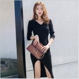 Negro Funda de estilo europeo medio Irregular Slit visten suéter de lana Slim vestido para damas