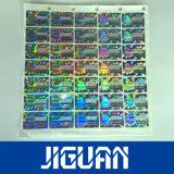 Prix le plus bas numéro de feuille de couleur or garantie autocollant hologramme personnalisé