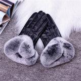 Lady Fashion Faux Fur Brazalete Sheepskin vestido de cuero guantes
