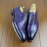 Пурпуровые люди Handwork цвета сделали кожаный ботинки партии для людей