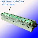 9X15W 5en1 LED RGBWA Lavado de pared Farol alimentado por batería inalámbrico