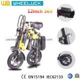 CE 36V migliore bicicletta della signora City Mini Folding Electric di prezzi di 12 pollici