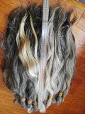 自然な灰色か白人の中国のバージンの人間の毛髪