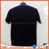 Maglietta del cotone degli uomini di seta neri di stampa