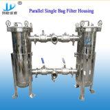 De industriële Roestvrij staal Opgepoetste Huisvesting van de Filter van de Zak van de Filtratie van het Water Duplex Parallelle