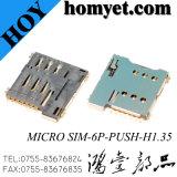 Os fabricantes forneçam 1.35h 6p Empurre micro conector do cartão SIM para o telefone celular&Tablet PC