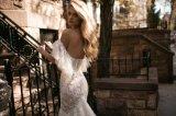 fora do laço do ombro que perla a sereia que nivela o vestido de casamento nupcial